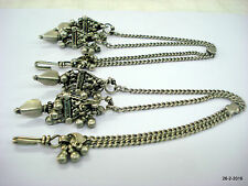 vintage antique tribal old silver earrings with hair chain belly dance jewellery