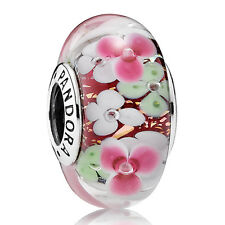 Original PANDORA Charm Murano Element 791652 Blumen flowers Silber Beads