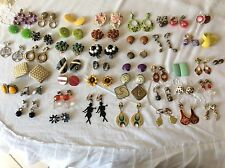 44 Piece Vintage Clip  On Earrings  Lot Retro Deco 60's 70's 80's
