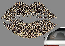 KISS BAISER LEOPARD LEVRES LOVE AMOUR 120mm AUTOCOLLANT STICKER AUTO (KA043)