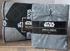 Star Wars Twin XL 5 Pc Quilt Sham Sheet Set ~ NEW Black Grey Rebel