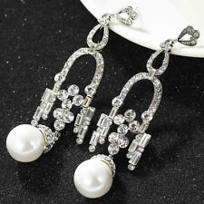 BEAUTIFUL ANTHROPOLOGIE WHITE PEARL SPARKLING CLEAR STONES DROP EARRINGS – NEW