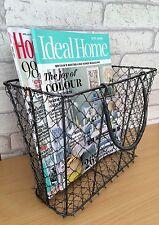 Magazine / Newpaper Storage Basket Vintage Industrial Style Metal Wire Holder