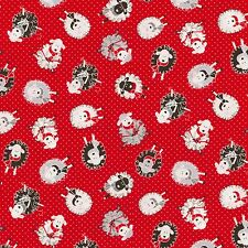 Knitting Sheep on Red Pin Dot Background C5341- Knitting Themed Fabric Bty