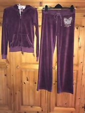 Juicy Couture Velour Hooded Tracksuit - Plum - Size 8/10