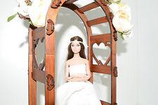 wedding arch wooden for Dolls 1:6 Barbie FR OOAK Poppy diorama H 14.5 in