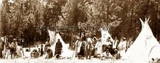 EARLY PHOTO OF A NATIVE AMERICAN INDIAN CAMP VILLAGE TIPI TEEPEE DRUM