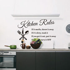 Kitchen Rules Quote Wall Stickers Decor Vinyl Art Mural Decal Removable yong