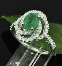 2.03 ct ladie's COLOMBIAN EMERALD & DIAMOND RING white gold 18K made in USA