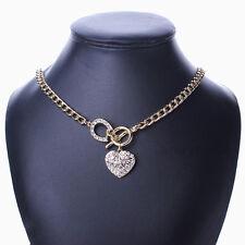 Gold Tone Chain Heart Love Dangle Choker Chunky Rhinestone Toggle Clasp Necklace