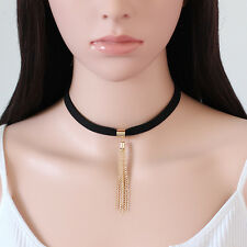 Women Black Velvet Tassel Pendant Choker Chunky Chain Collar Necklace Jewelry