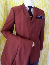 PS PAUL SMITH rusty red three 3 button wool slim cut fit suit 30x30 40
