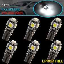 6 X HID White T10 5050 5-SMD Car Canbus Error Free Side Wedge LED Light W5W 194