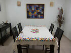 "Mexican textile - Otomi tablecloth, 100% cotton, hand embroidered 66 x73"" open1"