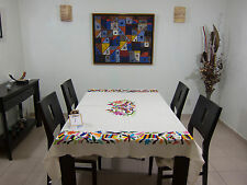 """Mexican textile - Otomi tablecloth, 100% cotton, hand embroidered 66 x73"""" open1"""