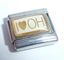 I LOVE OH Italian Charm GOLD HEART OHIO USA - fits Classic Starter Bracelets 9mm