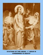 14 COPIES OF THE STATIONS OF THE CROSS, LAMINATED 8 X 10