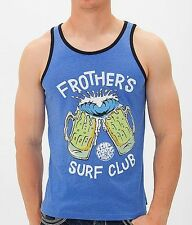 NEW RIP CURL SURF MEN FROTHER'S SURF CLUB BLUE TANK TOP SHIRT LARGE 17-20