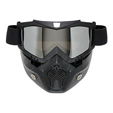 Motorcycle Anti Fog Riding Ski Scooter Goggle Helmet Face Nose Mask Guard Silver