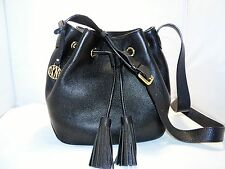 DKNY Black Vintage Style Leather Drawstring Bucket Bag New with Tags Msrp 350.00