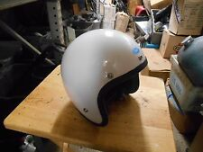 NOS Vintage Cafe Buco Solid White Fiberglass Medium Motorcycle Helmet 1757-2