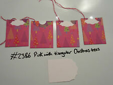 Set of 4 #2386 Pink with Triangular Christmas Trees Unique Handmade Gift Tags