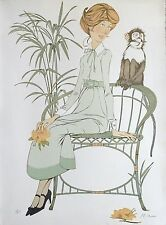 Philippe Henri Noyer lithographie signée femme au singe Ecole de Paris Lyon