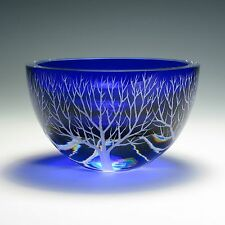"COBALT BLUE ENCASED CRYSTAL GLASS BOWL ""WINTER SOLITUDE"" by Ray Lapsys"