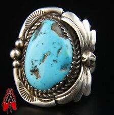 Beautiful Quality Blue Turquoise Sterling Silver Ring Vintage Navajo sz 7.5
