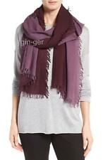 NWT EILEEN FISHER Wool Silk Cashmere Ombre Scarf Wrap RAISINETTE Purple 77X23