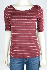 MAISON JULES NEW Burgundy Short Sleeve Dotted Casual Rayon Linen Knit Top S 4 6