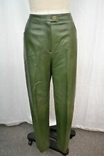 CHANEL GREEN LAMBSKIN LEATHER PANTS SIZE 44