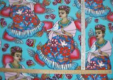 Fleece fabric Frida Kahlo Folk Hearts Birds Artist on turquoise blue  BTY