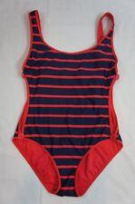 DKNY One Piece Sz 10 Navy Blue Red Striped  Maillot Swim Tank Swimsuit Swimwear