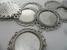 10 x Silver Pendant settings,Bezels,Findings.35x32mm,tray 20 mm.Jewellery making