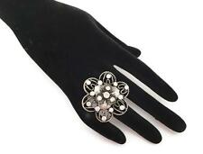 Fab Dark Silver Flower Design Cocktail Ring Crystal Diamante Fully Adjustable