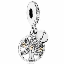 GENUINE AUTHENTIC PANDORA SILVER 14K GOLD FAMILY HERITAGE DANGLE CHARM 791728CZ
