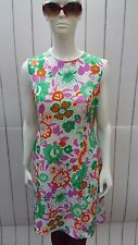 Vintage 1960's Bright Floral Day Dress by SPINNEY. Size 16.