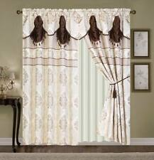 Luxury window Curtain 4pc Drapes liner+valance jacquard panel Brown beige-WC1314