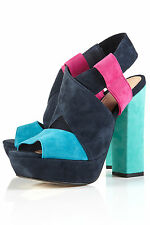 Topshop Love Colour Block Suede Platform Sandal Heels UK 7 EURO 40 US 9.5 AUS 10
