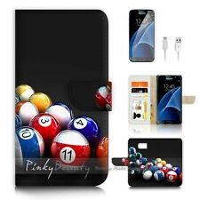 Samsung Galaxy S7 Flip Wallet Case Cover P0329 Pool Ball
