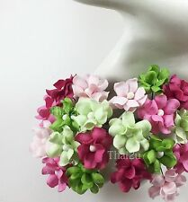 25 Small Green Pink Paper Flowers Scrapbook Wedding Decor DIY Crafts ZS15-624