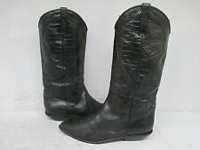 Nordstrom Black Leather Cowboy Western Boots Size 10 Made in Italy