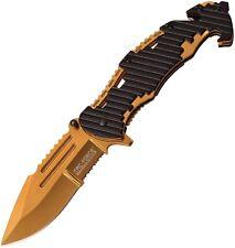 "Tac Force TF932BG Gold 4.75"" Folding Linerlock Knife w/Black Handles"