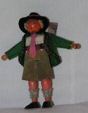 """Vintage Austrian Costume Souvenir Wooden Peg Boy Doll Felt Clothing 4.5"""" Tall"""