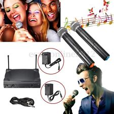 Pro Dual Channel 2 Wireless Microphone System Cordless Handheld Mic Kareoke KTV