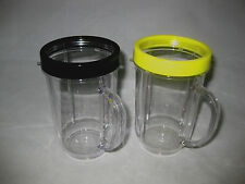 2-Genuine MAGIC BULLET Party Mugs Cups & Colored Lip Rings! NEW!