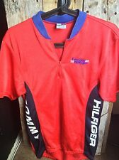 Vintage Size Large Tommy Hilfiger Cycle Gear USA Red Polyester Cycling Jersey