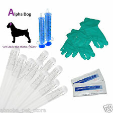 "10 - 6"" Alpha - Dog Premium AI Tubes Canine Artificial Insemination Kit Breeding"