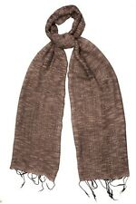 *NEW* Deep Taupe Silk & Cotton Weave Textured Scarf - Fair Trade BNWT